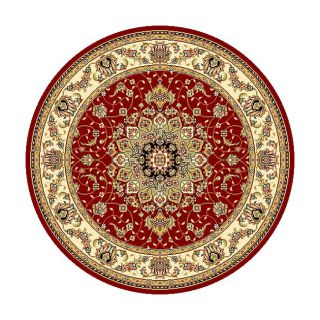 Lyndhurst Collection Red/ Ivory Oriental Rug (8 Round)