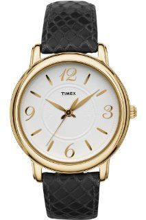 Timex Womens Classsics White Dial Gold Tone Stainless Steel Case Black Leather Watch T2N619 classic Watches