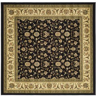 Lyndhurst Collection Traditional Oriental Black/ Ivory Rug (6 Square)
