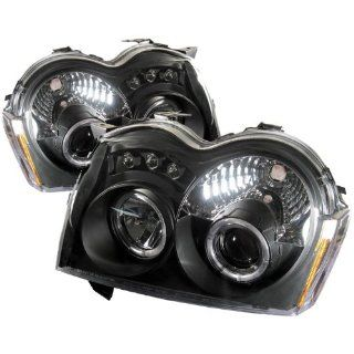 2005 2006 2007 Jeep Grand Cherokee Halo LED Projector Headlights   Black (Replaceable LEDs) Automotive