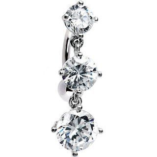 Solid 14k White Gold Top Mount Cz Belly Ring Jewelry
