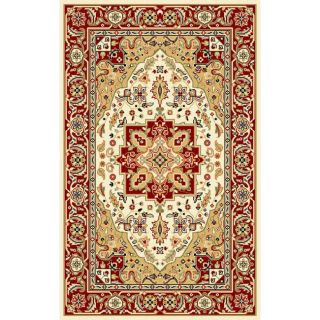 Lyndhurst Collection Ivory/red Polyester Rug (33 X 53)
