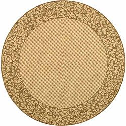 Indoor/ Outdoor Natural/ Brown Rug (53 Round)