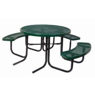 (ADA 1 Chair) Round Thermoplastic Picnic Table  Patio, Lawn & Garden