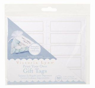 Darice VL296 Printable Square Gift Tag with Pearl Accent, 80 Per Pack, White/Silver   Gift Wrap Tags