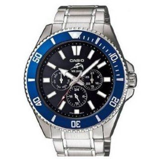 Casio MDV303D 1A2V Mens Stainless Steel Duro Quartz Diver Black Dial Blue Bezel Watch at  Men's Watch store.