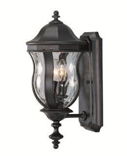 Savoy House Lighting KP 5 304 BK Monticello Collection 2 Light 18 inch Outdoor Wall Mount Lantern, Black Finish with Clear Watered Glass   Wall Porch Lights