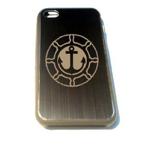Apple Iphone Custom Case 4 4s Black Aluimium Back Metal Plate   Anchor Nautical Steering Wheel Engraved Logo Cell Phones & Accessories