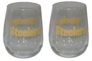 Pittsburgh Steelers NFL Football Set of 2 Curved Beverage Stemless Color Logo Wine Glasses Sports & Outdoors