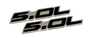 2 x (pair/set) 5.0L Emblems in BLACK Highly Polished Aluminum Silver Chrome Engine Swap Badge for Ford Mustang GT F 150 Boss 302 Coyote Cobra GT500 V8 Crown Vic Victoria Automotive