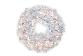 "National Tree 30"" Wispy Willow Grande White Wreath with Silver Glitter and 100 Velvet Frost White Lights (WOGW1 304 30W)   Christmas Trees"