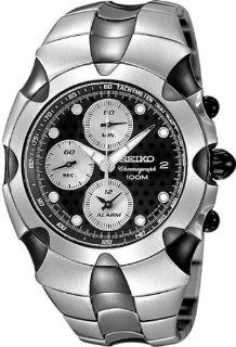 Seiko #SNA763 Men's Stainless Steel Streamline Black Dial Alarm Chronograph at  Men's Watch store.