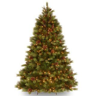 "National Tree PEWH13 307 75 ""Feel Real"" White Pine Hinged Tree with 550 Clear Lights, 7 1/2 Feet   Christmas Trees"