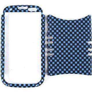 Cell Armor I747 RSNAP 3D309 Rocker Series Snap On Case for Samsung Galaxy S3   Retail Packaging   3D Embossed Blue/Black Checkers Cell Phones & Accessories