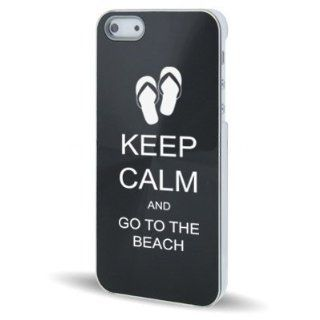 Apple iPhone 5 5S Black 5C625 Aluminum Plated Hard Back Case Cover Keep Calm and Go To The Beach Sandals Cell Phones & Accessories