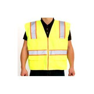 "ANSI Class 2, Lime Safety Vest with 3"" Yellow /2"" Silver Reflective, {X Large}"