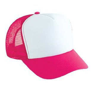 Professional Style Polyester Foam Front High Crown Golf Style Mesh Back Two Tone Adjustable Hat Cap   Hot Pink/White/Hot Pink Clothing