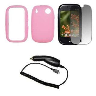 Premium Pink Soft Silicone Gel Skin Cover Case + Crystal Clear LCD Screen Protector + Rapid Car Charger for Palm Pre Cell Phones & Accessories