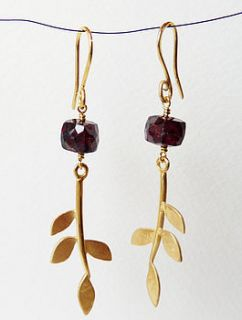 gold plated eloise leaf garnet earrings by blossoming branch