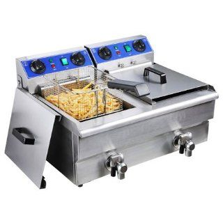 Commercial 20L Electric Dual Deep Fryer w/ Timer and Drain Stainless Steel French Fry Kitchen & Dining