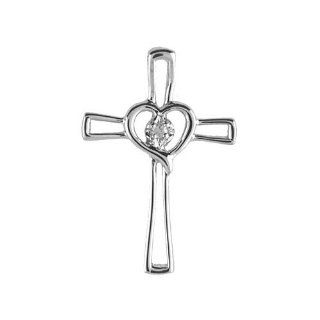 "Birthstone Company 14K White Gold Diamond Cross Pendant with 18"" Chain Jewelry"