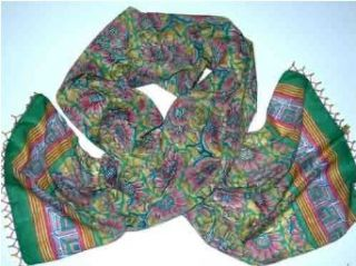 Taragon Design Hand Printed 100% Cotton Anokhi Scarf with Beaded Borders, 15 inches X 60 inches
