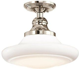 Kichler Lighting 42270PN 1 Light Keller Semi Flush/Pendant, Polished Nickel Finish with Cased Opal Glass Shade   Ceiling Pendant Fixtures