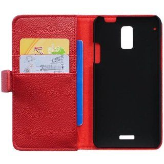 Bfun Red Stylish Card Slot Wallet Leather Cover Case for HTC J Z321e Cell Phones & Accessories