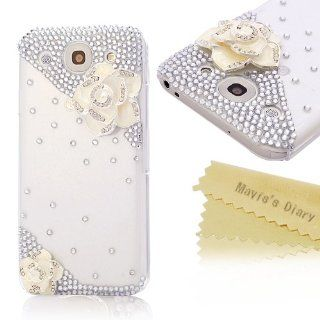 Mavis's Diary New 3D Handmade Crystal White Camellia Diamond Design Rhinestone Case Clear Cover for LG Optimus G Pro E980 F240k with Soft Clean Cloth Cell Phones & Accessories