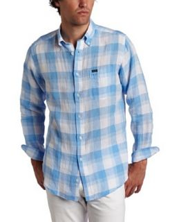Faconnable Men's Plaid Shirt, Blue, Medium at  Men�s Clothing store