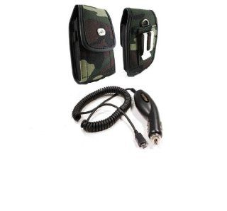 Premium Quality Rapid Car Auto Plug in Charger + Vertical Camouflage Designed Velcro Carrying Case Holster Cover Side Pouch with Belt Loop and Metal Clip for ATT BlackBerry Bold 9000   Boost Mobile Motorola Clutch + i475   Samsung Chat 335   T Mobile Black
