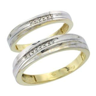 10k Yellow Gold Diamond Wedding Rings Set for him 5 mm and her 3.5 mm 2 Piece 0.07 cttw Brilliant Cut, ladies sizes 5   10, mens sizes 8   14 Jewelry