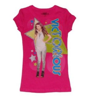 Nickelodeon Victorious Girls Chracter T shirt (L (10/12), Pink) Clothing