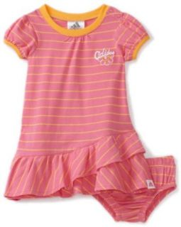 adidas Baby Girls Infant Stripe Play Dress Set, Bright Pink, 3 Months Infant And Toddler Sweatsuits Clothing