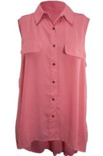 Plus Pleated Back Button Down Sleeveless Blouse, Size 22/24