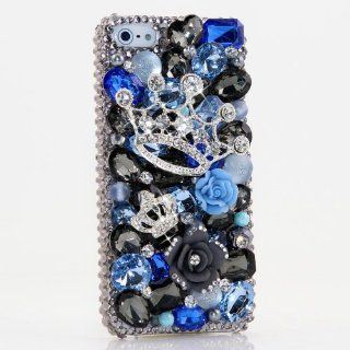 3D Swarovski Silver Crown Blue Design Crystal Bling Case Cover for iphone 5 5S AT&T Verizon & Sprint / 100% Handcrafted by BlingAngels Cell Phones & Accessories