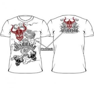 Warrior International MMA Dragon Mask Red Foil White T shirt Tee Clothing