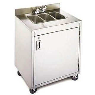 Crown Verity Stainless Steel Triple Portable Hand Sink, 34.375 x 25.25 x 47.75 inch    1 each. Triple Bowl Sinks