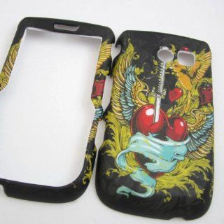 RUBBERIZED HARD PHONE CASES COVERS SKINS SNAP ON FACEPLATE PROTECTOR FOR SAMSUNG SCH R375C R375C STRAIGHT TALK WINGED HEART TATTOO (WHOLESALE PRICE) Cell Phones & Accessories