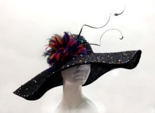 Kentucky Derby Wide Brim Hat   Paillet Rhinestone Sinamay Hat Sun Hats