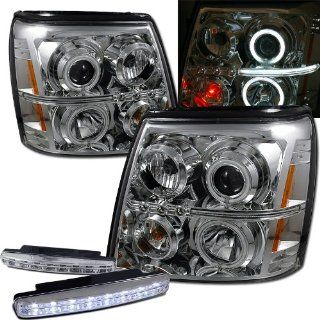2003 Cadillac Escalade Ccfl Halo Projector Headlights + 8 Led Fog Bumper Light Automotive