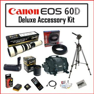 Nature Photography Package for Canon EOS 60D Featuring Canon 200DG Digital Camera Gadget Bag   Black, Opteka 650 1300mm High Definition Telephoto Zoom Lens, Opteka 2X TeleConverter High Quality Battery Grip BG E9 for Canon 60D Digital SLR DSLR Camera, Opte