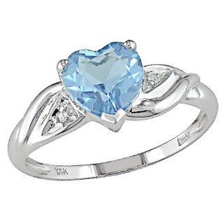 10k White Gold Accent Diamond and Blue Topaz Heart Ring (0.01 Cttw, G H Color, I2 I3 Clarity) Jewelry