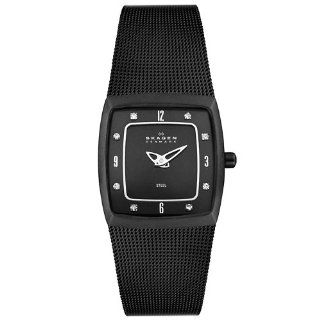 Skagen Women's 380XSBB1 Steel Collection Crystal Accented Black Mesh Stainless Steel Black Dial Watch Skagen Watches
