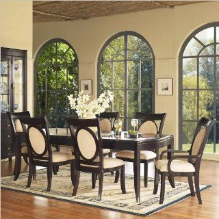 Somerton Signature Rectangular Glass Top Table 9 Piece Dining Set   Dining Room Furniture Sets
