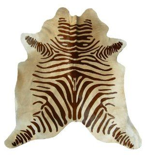 Zebra Brown on Beige Brazilian Cowhide Rug, Large 5ft. X 7ft.   Area Rugs