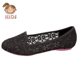 F 38K Little Girls Ballet See Through Flats Black Black Shoes Girls Shoes