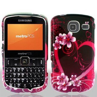 Samsung Freeform 4 IV R390 R 390 Black with Hot Pink Love Hearts Flowers Design Snap On Hard Protective Cover Case Cell Phone Cell Phones & Accessories