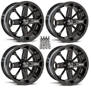 "MSA M17 Elixir ATV Wheels/Rims Black 14"" Can Am Commander Maverick Renegade Outlander (4) Automotive"