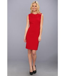 Nicole Miller Neck Detail Stretch Crepe Dress Red